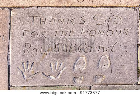 Handprints  Of Ray Milland In Hollywood Boulevard In The Concrete Of Chinese Theatre's Forecourt