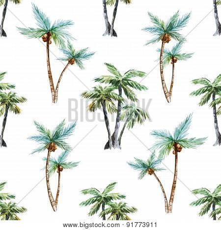 Watercolor palm trees pattern