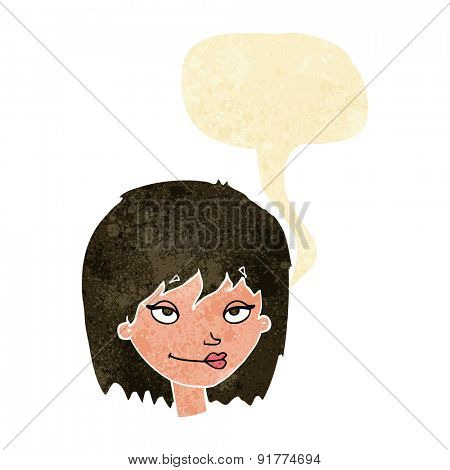 cartoon smiling woman with speech bubble