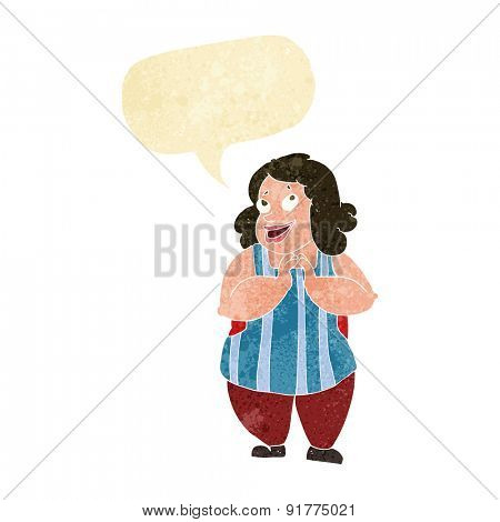 cartoon happy cook with speech bubble
