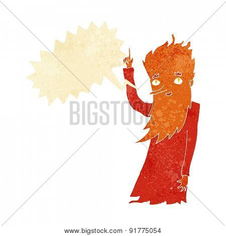 cartoon fire spirit with speech bubble