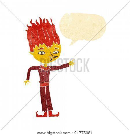 fire spirit cartoon with speech bubble