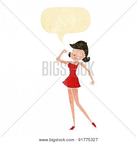 cartoon woman with can do attitude with speech bubble