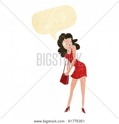 cartoon woman looking in handbag with speech bubble