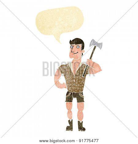 cartoon lumberjack with speech bubble
