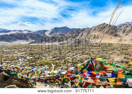 Aerial View Of Leh And Shanti Stupa