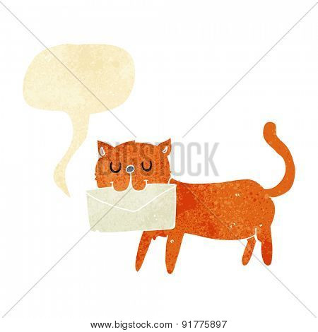 cartoon cat carrying letter