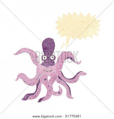 cartoon giant octopus with speech bubble