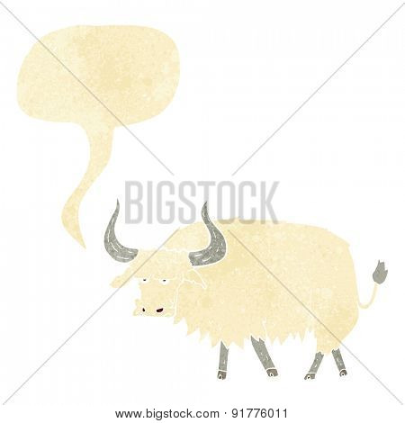 cartoon annoyed hairy ox with speech bubble