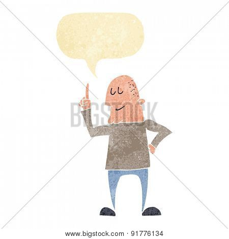 cartoon man pointing finger with speech bubble