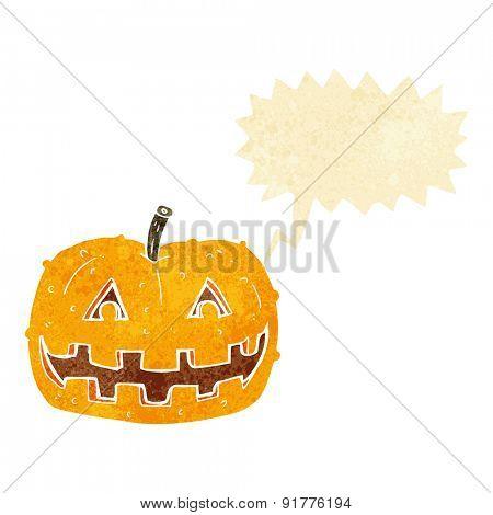cartoon pumpkin with speech bubble