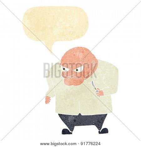 cartoon evil man with speech bubble