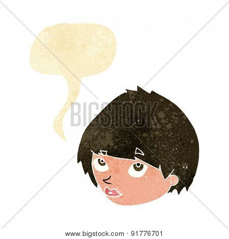 cartoon female face looking up with speech bubble