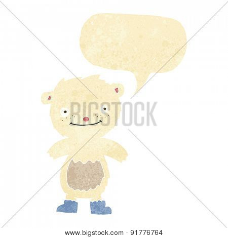cartoon teddy polar bear wearing boots with speech bubble