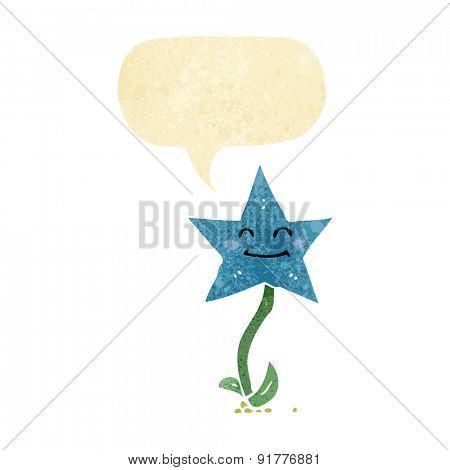 cartoon star flower with speech bubble