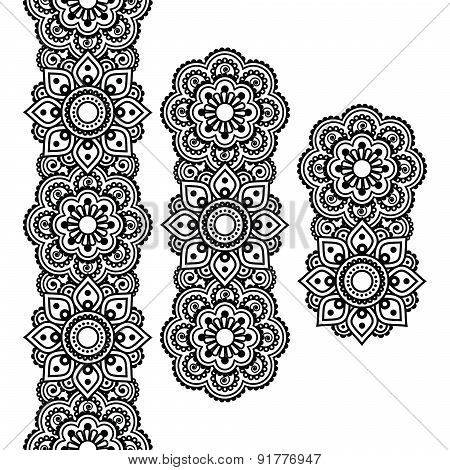 Mehndi, Indian Henna tattoo long pattern, design elements