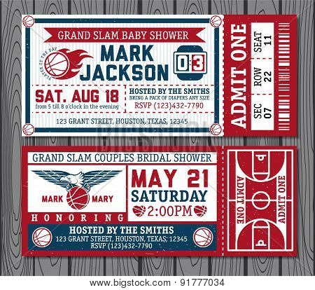 Set of vintage basketball tickets