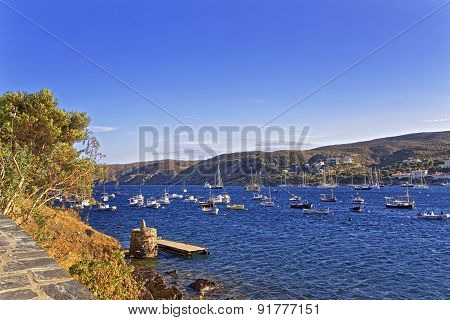 Cadaques Harbor View From Quay In Summer