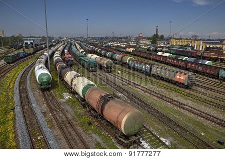 Freight Station With Trains, Russian Railway.