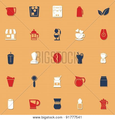 Coffee And Tea Classic Color Icons With Shadow