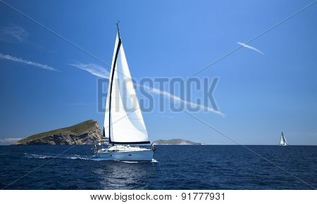 Sailing yacht race, picture with space for text or logos.