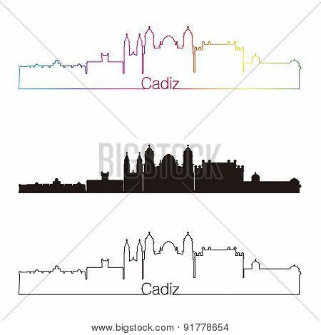 Cadiz Skyline Linear Style With Rainbow