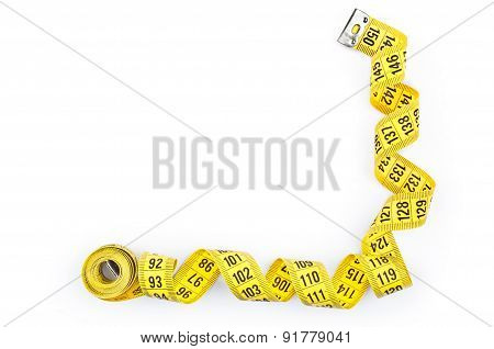 Yellow Measuring Tape, Isolated On White