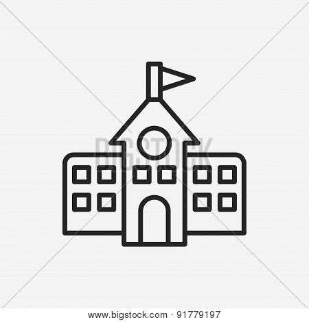 School Building Line Icon