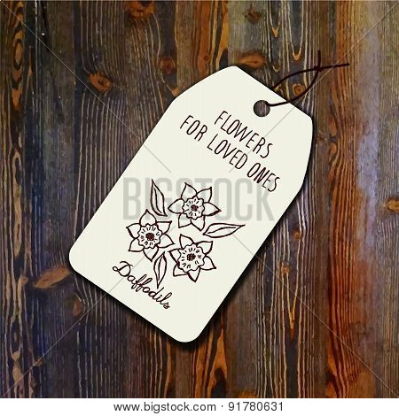 Tag template with bouquet of daffodils