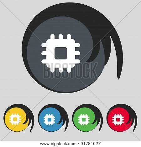 Central Processing Unit Icon Sign. Symbol On Five Colored Buttons. Vector
