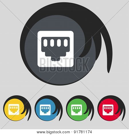 Cable Rj45, Patch Cord Icon Sign. Symbol On Five Colored Buttons. Vector