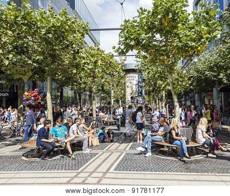 People Walk Along The Zeil In Frankfurt