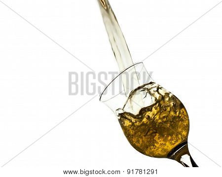 Yellow  Water Splashing From Glass Isolated On White, Clipping Paths
