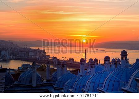 Sunrise Over Bosphorus, A Look From Suleymaniye Mosque, Istanbul, Turkey