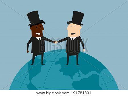 International business handshake on the earth