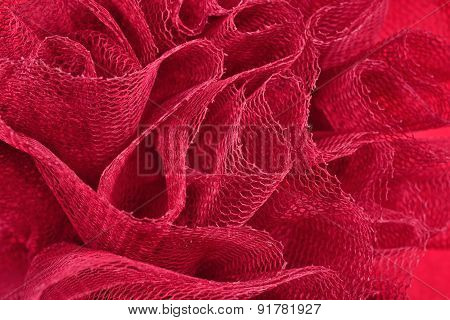 Red Crumpled Tulle Close Up