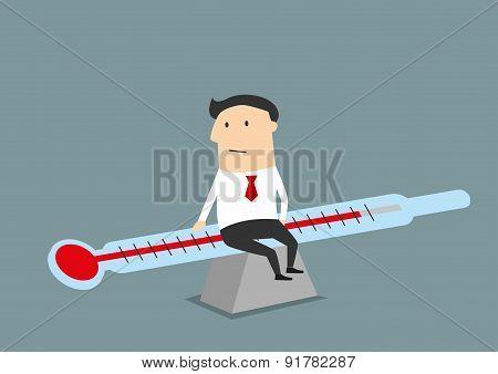 Businessman balancing between illness and health