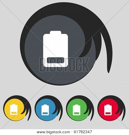 Battery Low Level, Electricity Icon Sign. Symbol On Five Colored Buttons. Vector