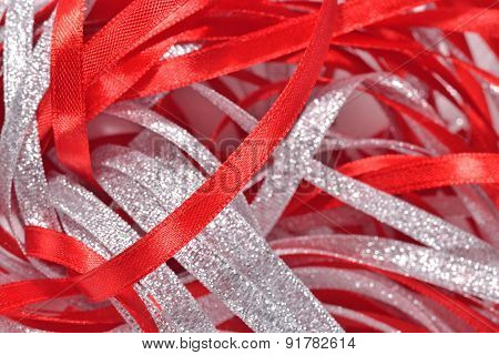 Silver And Red Ribbons Close Up