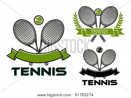 Tennis game emblems with rackets and balls