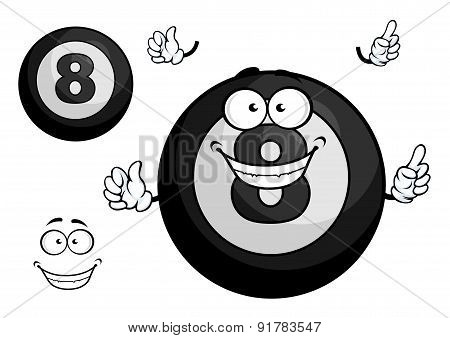 Black billiard eight ball cartoon character