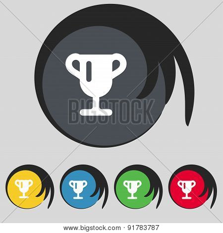 Winner Cup, Awarding Of Winners, Trophy Icon Sign. Symbol On Five Colored Buttons. Vector