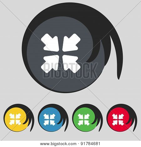 Turn To Full Screen Icon Sign. Symbol On Five Colored Buttons. Vector