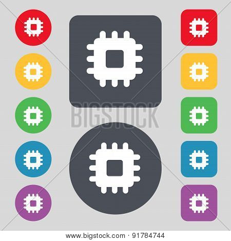 Central Processing Unit Icon Sign. A Set Of 12 Colored Buttons. Flat Design. Vector