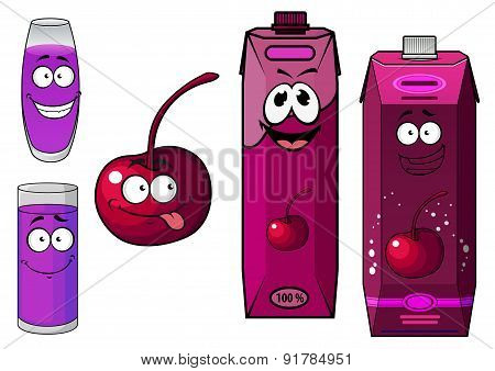 Cherry juice and fruit cartoon characters