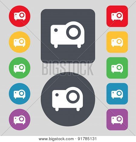 Projector Icon Sign. A Set Of 12 Colored Buttons. Flat Design. Vector