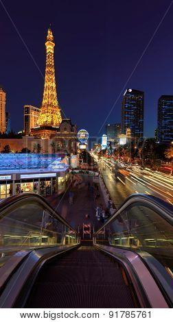 Las Vegas, NV - CIRCA MARCH 2015 - Night illumi along The Strip and Eiffel Tower in Las Vegas, Nevad