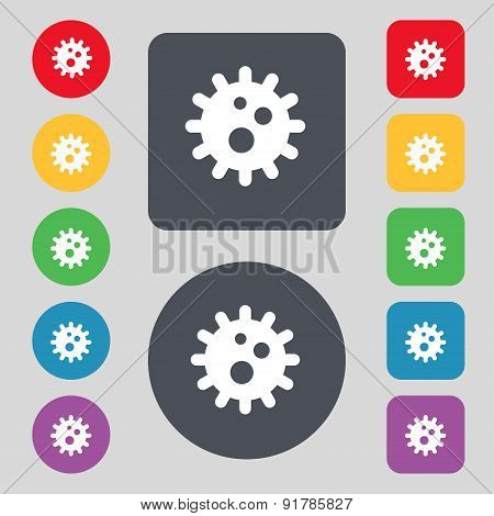 Naval Mine Icon Sign. A Set Of 12 Colored Buttons. Flat Design. Vector