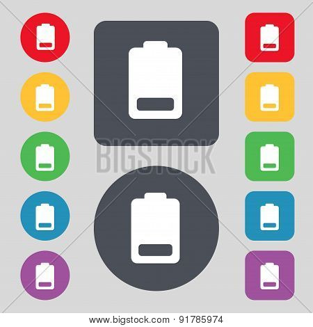 Battery Low Level, Electricity Icon Sign. A Set Of 12 Colored Buttons. Flat Design. Vector