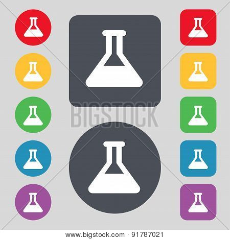 Conical Flask Icon Sign. A Set Of 12 Colored Buttons. Flat Design. Vector